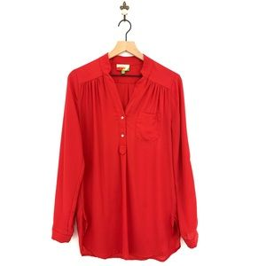 Modcloth Fervour Red Long Sleeve Popover Blouse M